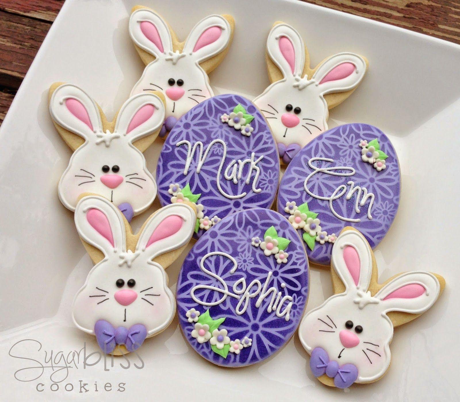 "Eggs & Bunnies  Custom 3"" cookie favorsdesigned especially for Ann  Thank You!"