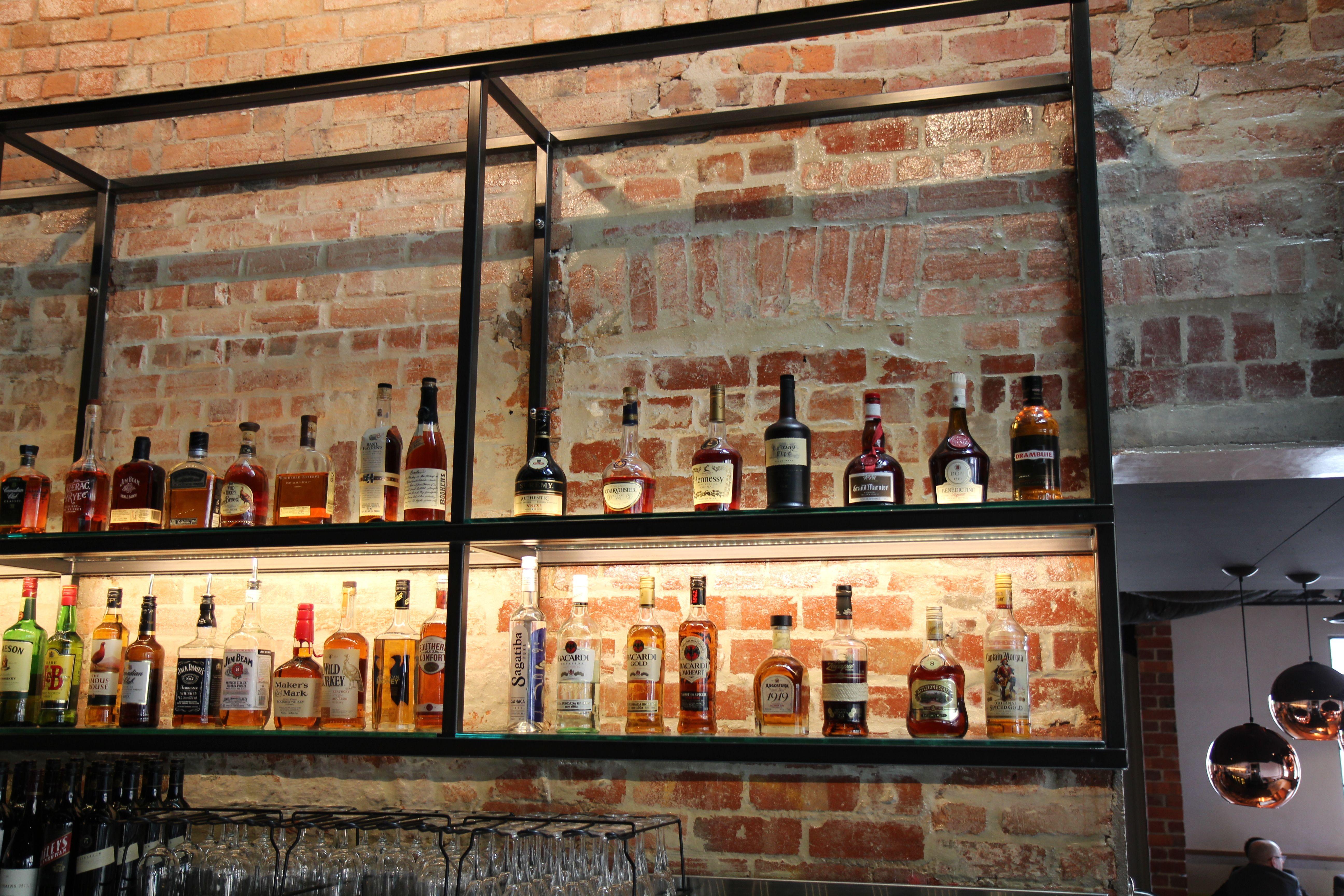 Hotel Bar Wall Shelving In Black Steel Custom Metal