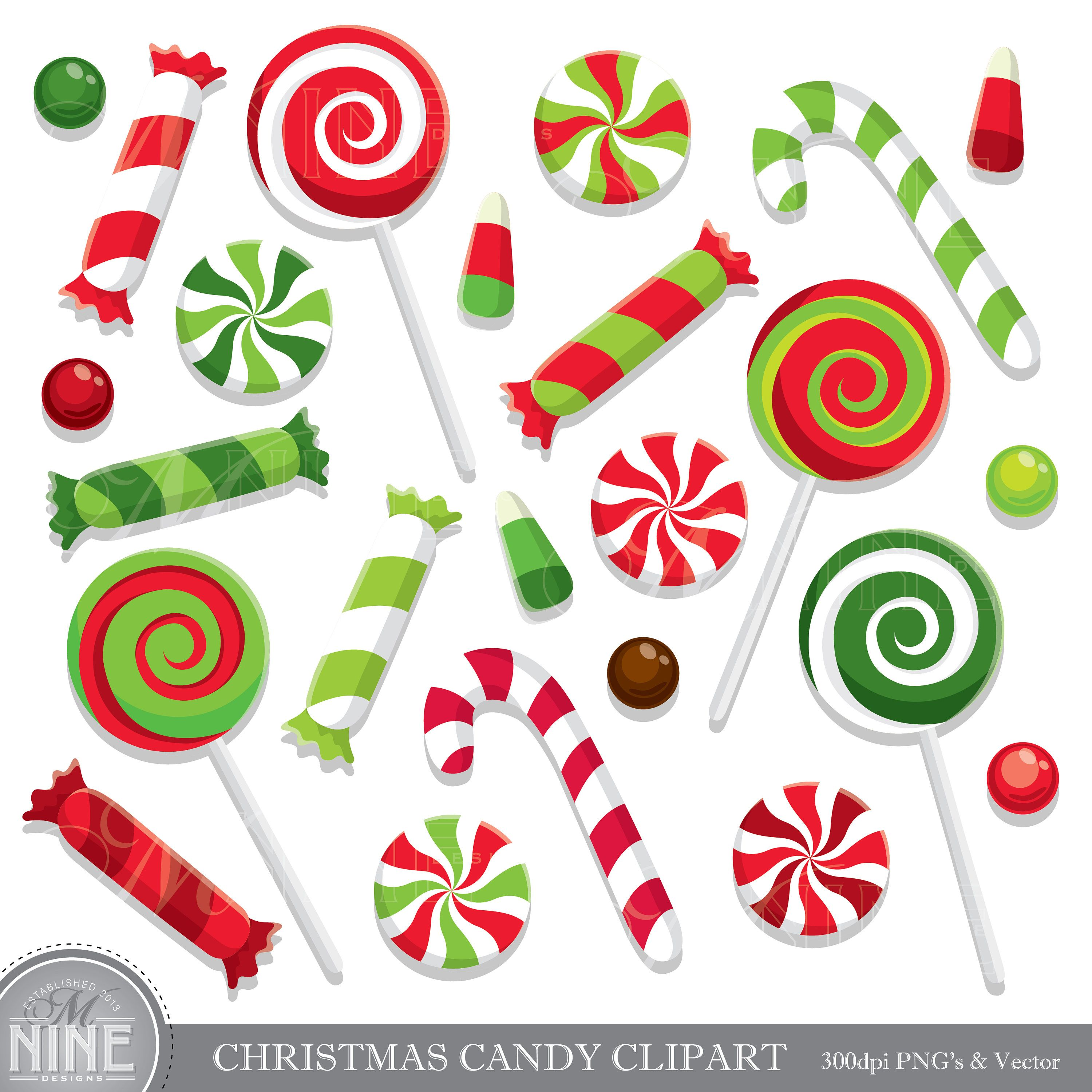 CHRISTMAS CANDY Clip Art / Holiday CANDY Clipart Downloads