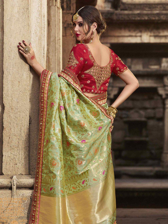 302567a506ca58 Buy Olive Green Banarasi Silk Woven Saree with Heavy Work Border - SAAH11863