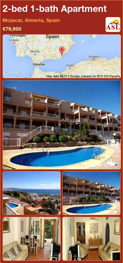 2-bed 1-bath Apartment in Mojacar, Almeria, Spain ►€79,950 #PropertyForSaleInSpain
