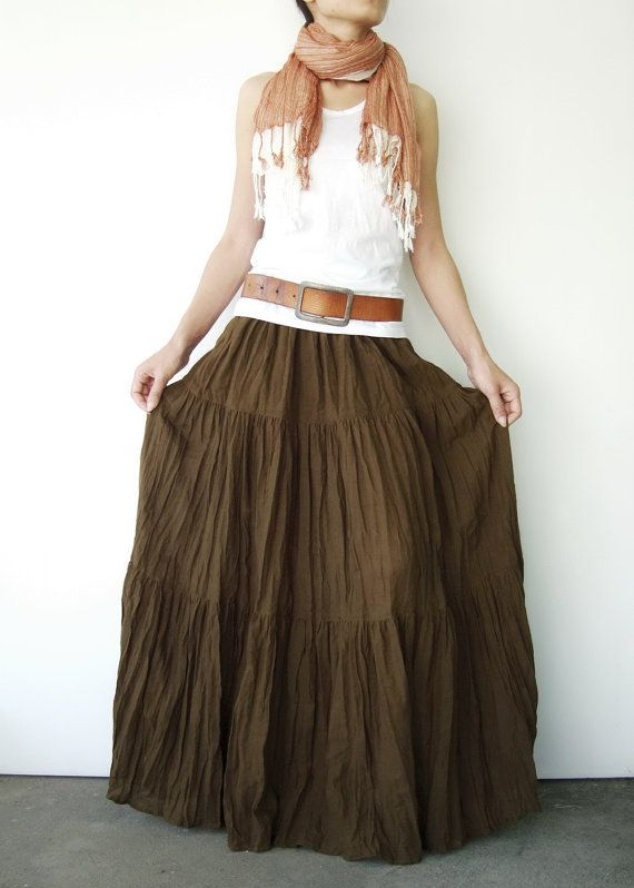 2936a32372 NO.5 Greenish Brown Cotton, Hippie Gypsy Boho Tiered Long Peasant Skirt