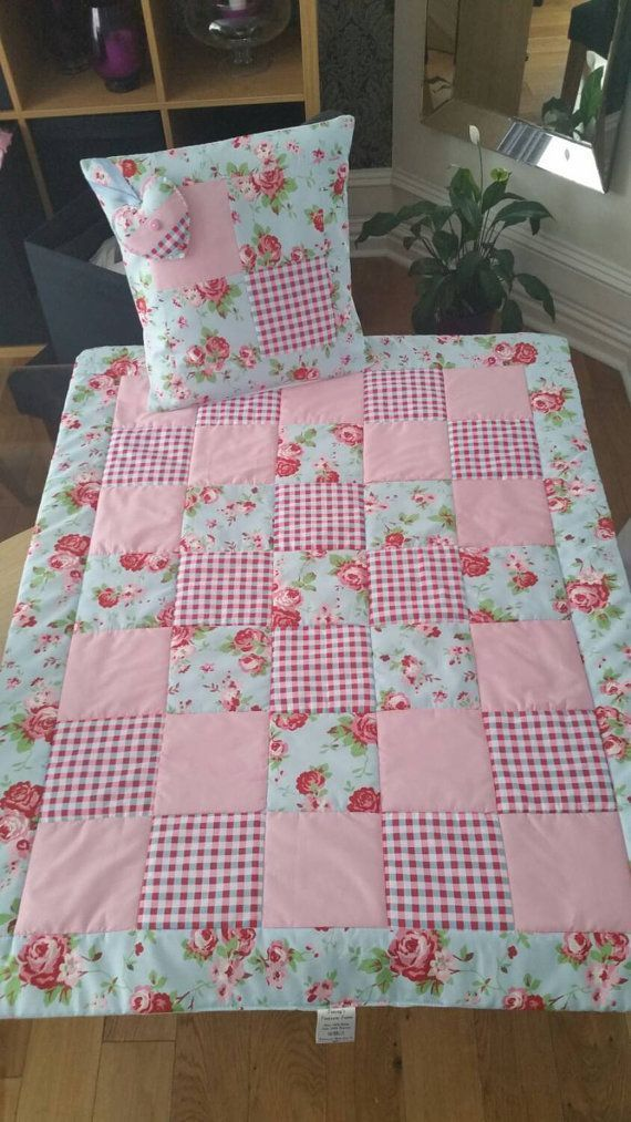 Vintage style baby quilt cot quilt crib quilt genuine vintage French chic quilt handmade