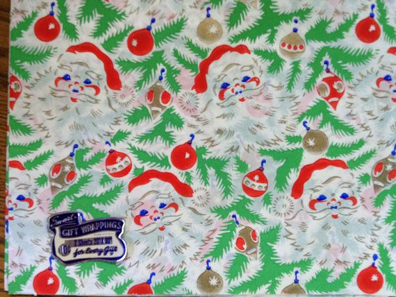 Vintage Christmas Gift Wrap Tissuey Bright by TwinSpruceAntiques, $4.95