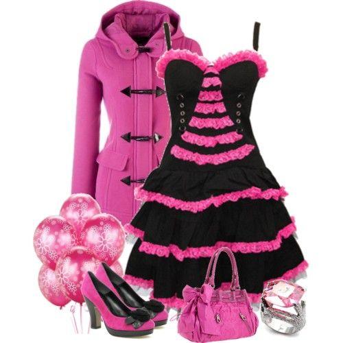 فساتين قصيرة منفوشة Fashion Black Pink Pink Dress