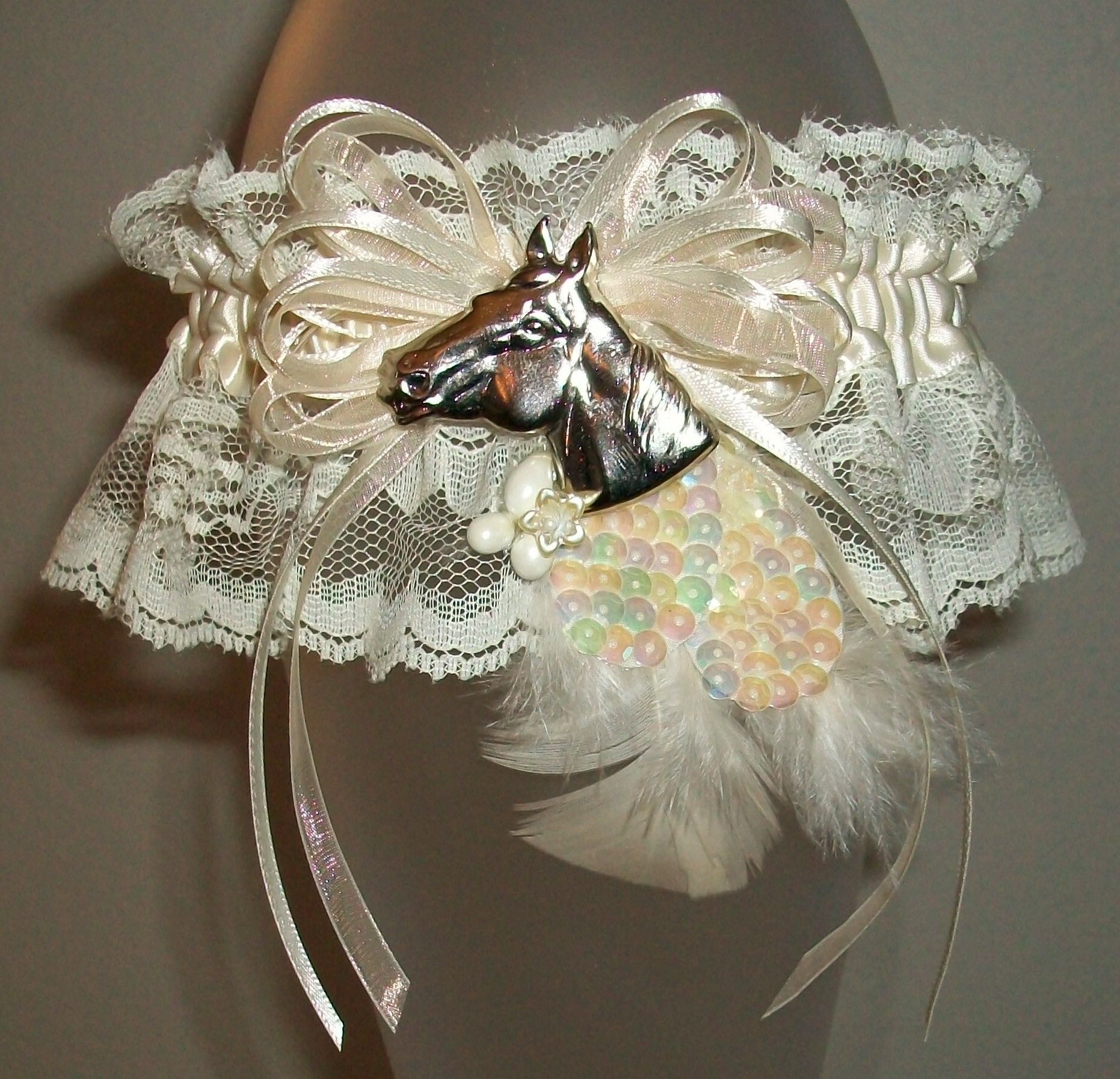 Country Wedding Garters: Silver Horse Ivory Lace Garter, Wedding Garter, Prom