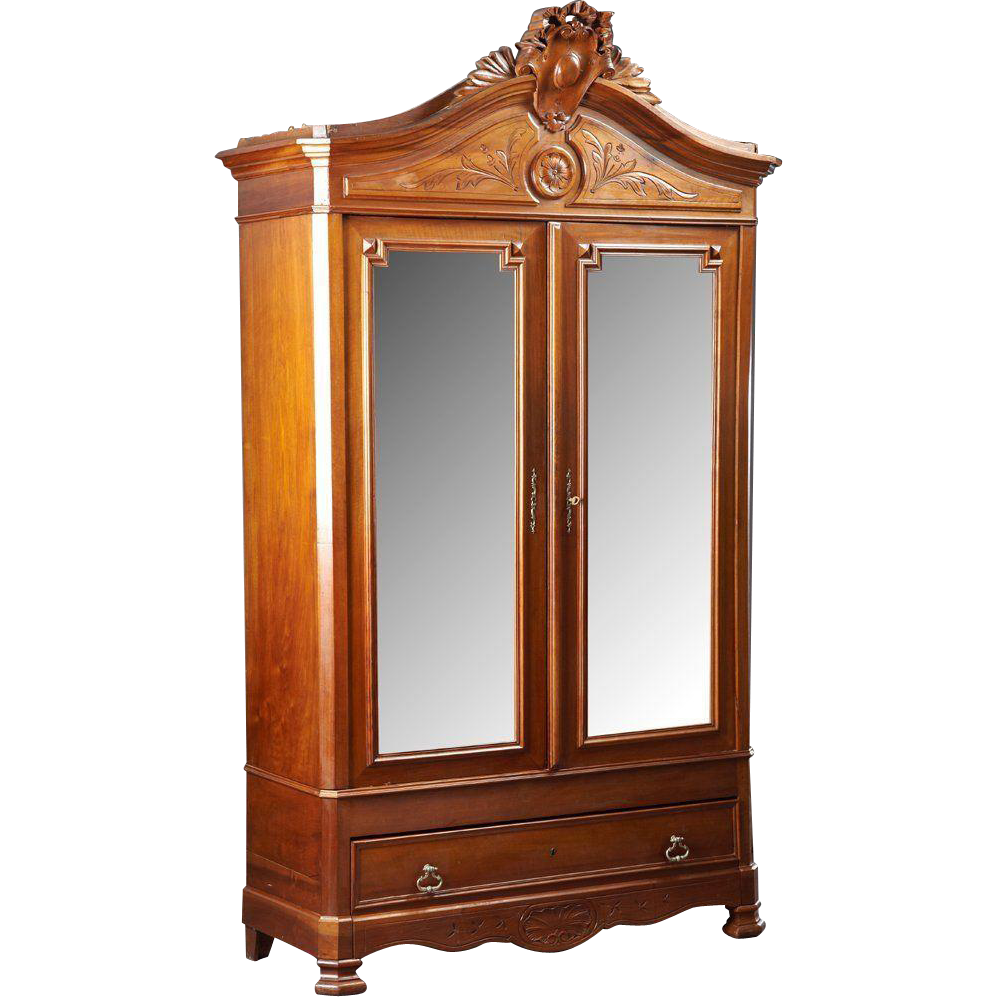 Louis XVI Style Carved Walnut Double Door Armoire, 1900 Century! This  Lovely Armoire Has