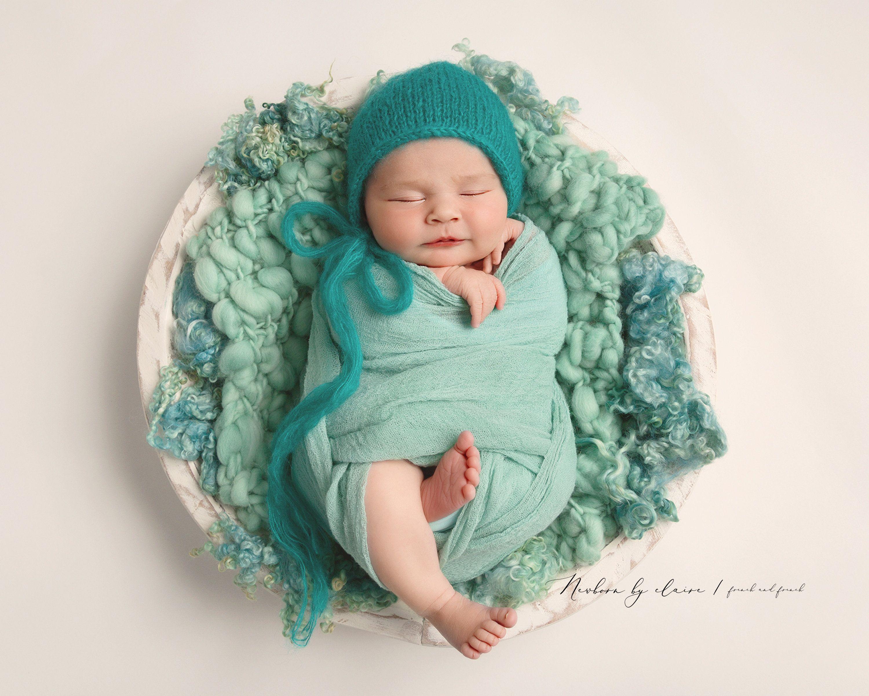 Texture fluff turquoise basket stuffer wool fluff newborn prop natural