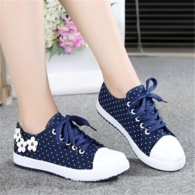 Blue White Dots Flat Casual Shoes