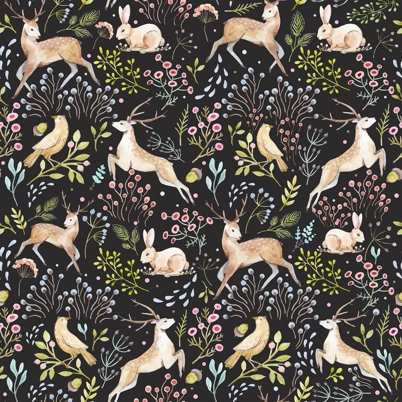 Removable Wallpaper Forest Branch Animals Pattern #428