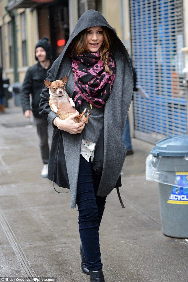 Katharine McPhee with her Chihuahua... Love it when Smokey sits this way!!