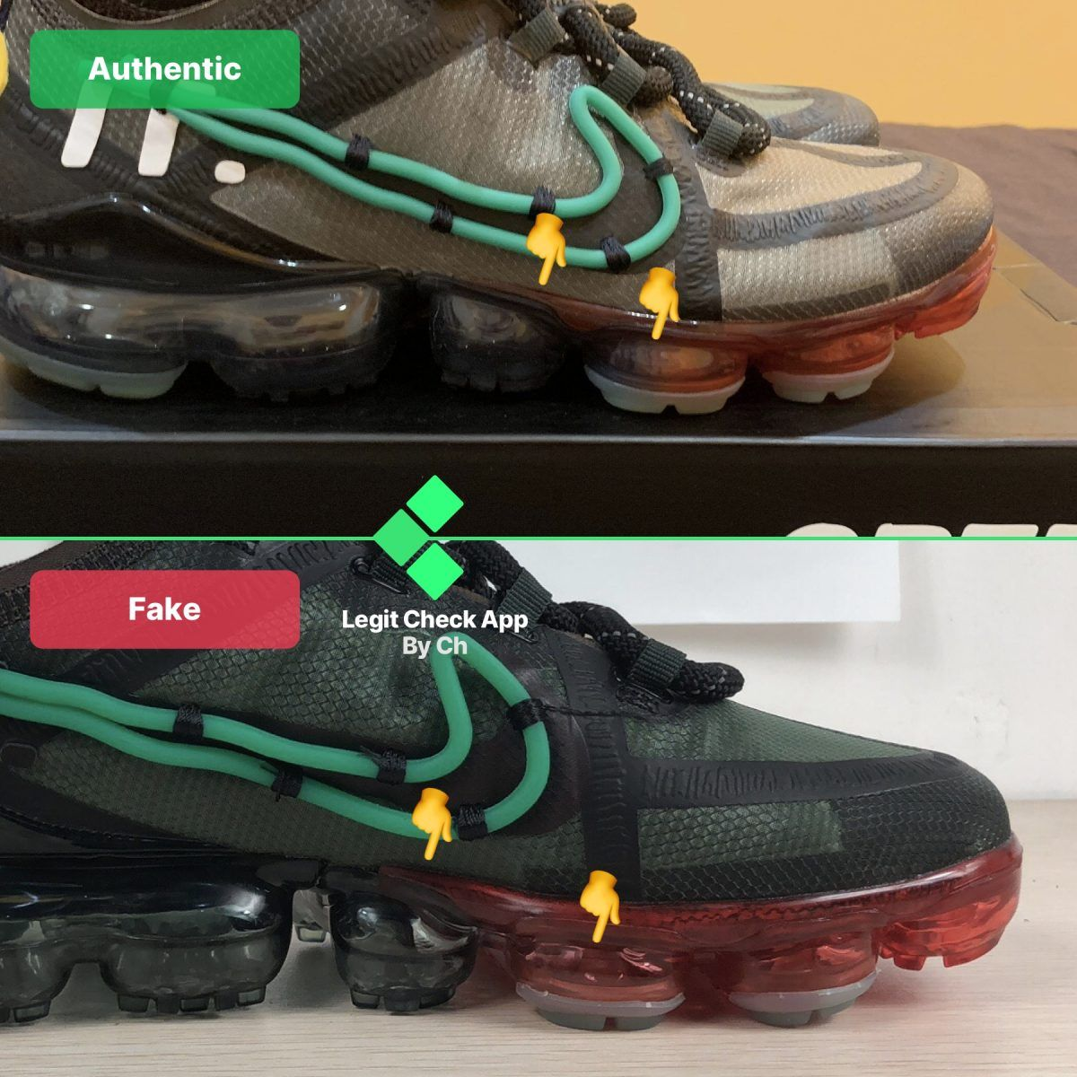 Step 4: Look at the midsole bubbles on the CPFM Vapormax