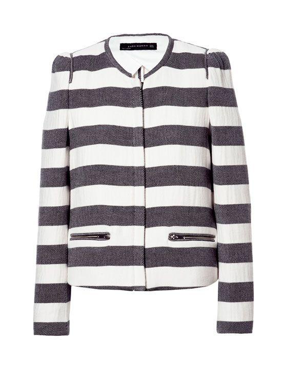 Zara black and white striped jacket