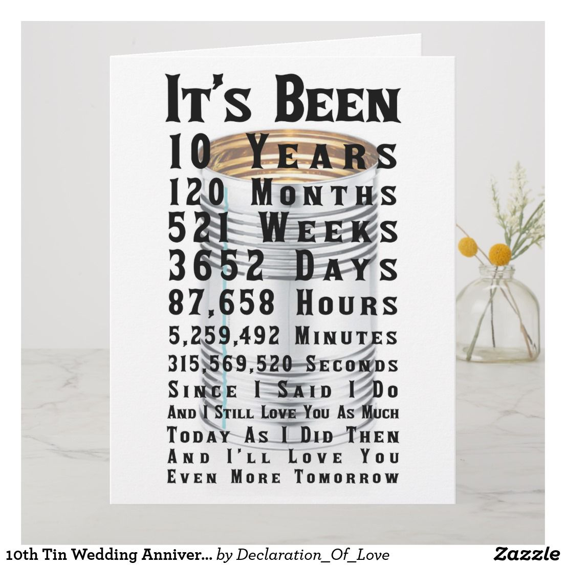 10th Tin Wedding Anniversary Card Zazzle.co.uk