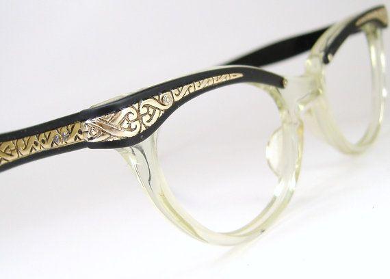 Vintage 50s Glasses Cat Eye Eyeglasses Frame Filigree Never Worn Black And Gold Eyeglasses Vintage Eyewear Glasses