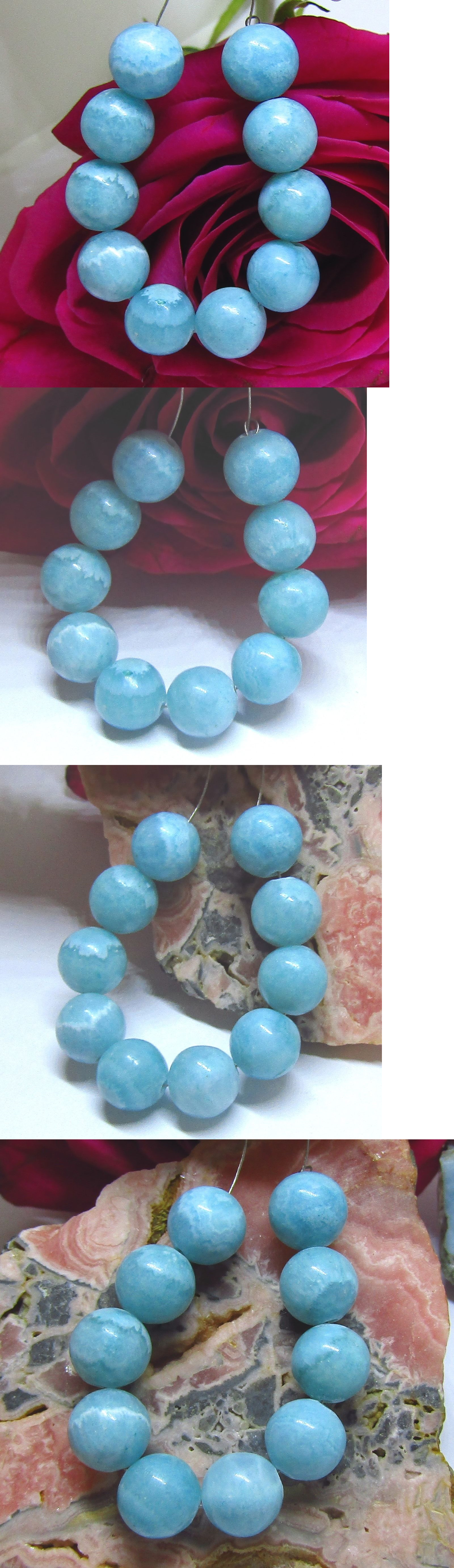 Other Loose Gemstones 282: 10 Rare Natural Blue Amazonite Round Beads From Madagascar 10Mm BUY IT NOW ONLY: $35.0