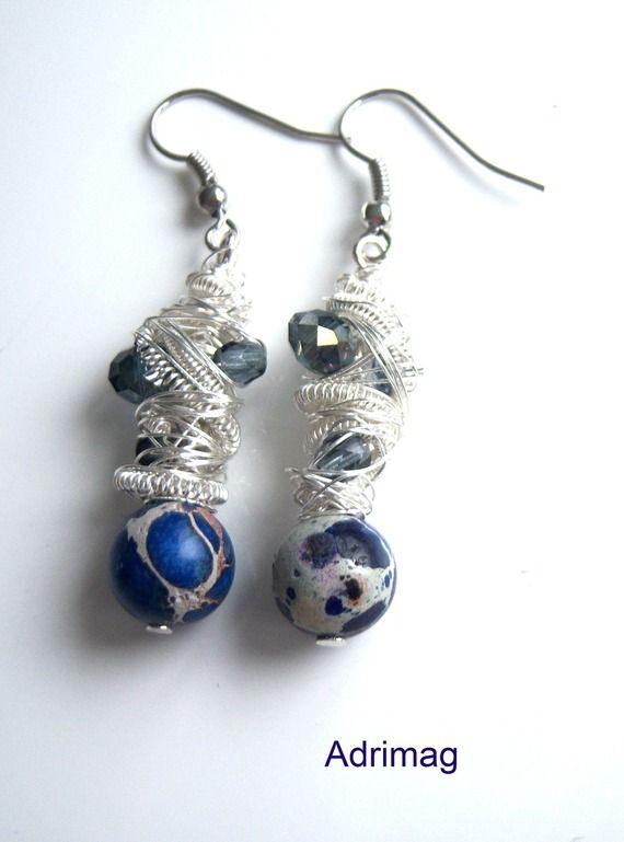 Boucles d'oreille avec une pierre d'agate sédiment et wire wrap