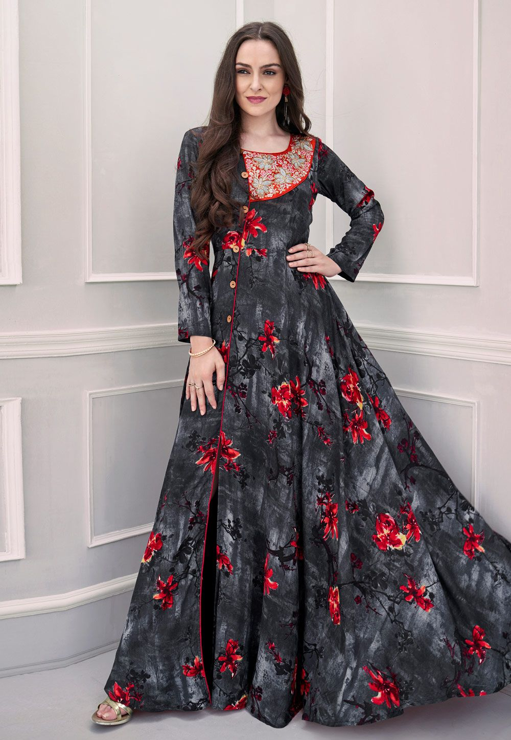 0f558e30dd Shop Gray Rayon Long Readymade Gown 154334 online at best price from vast  collection of designer kurti at Indianclothstore.com.