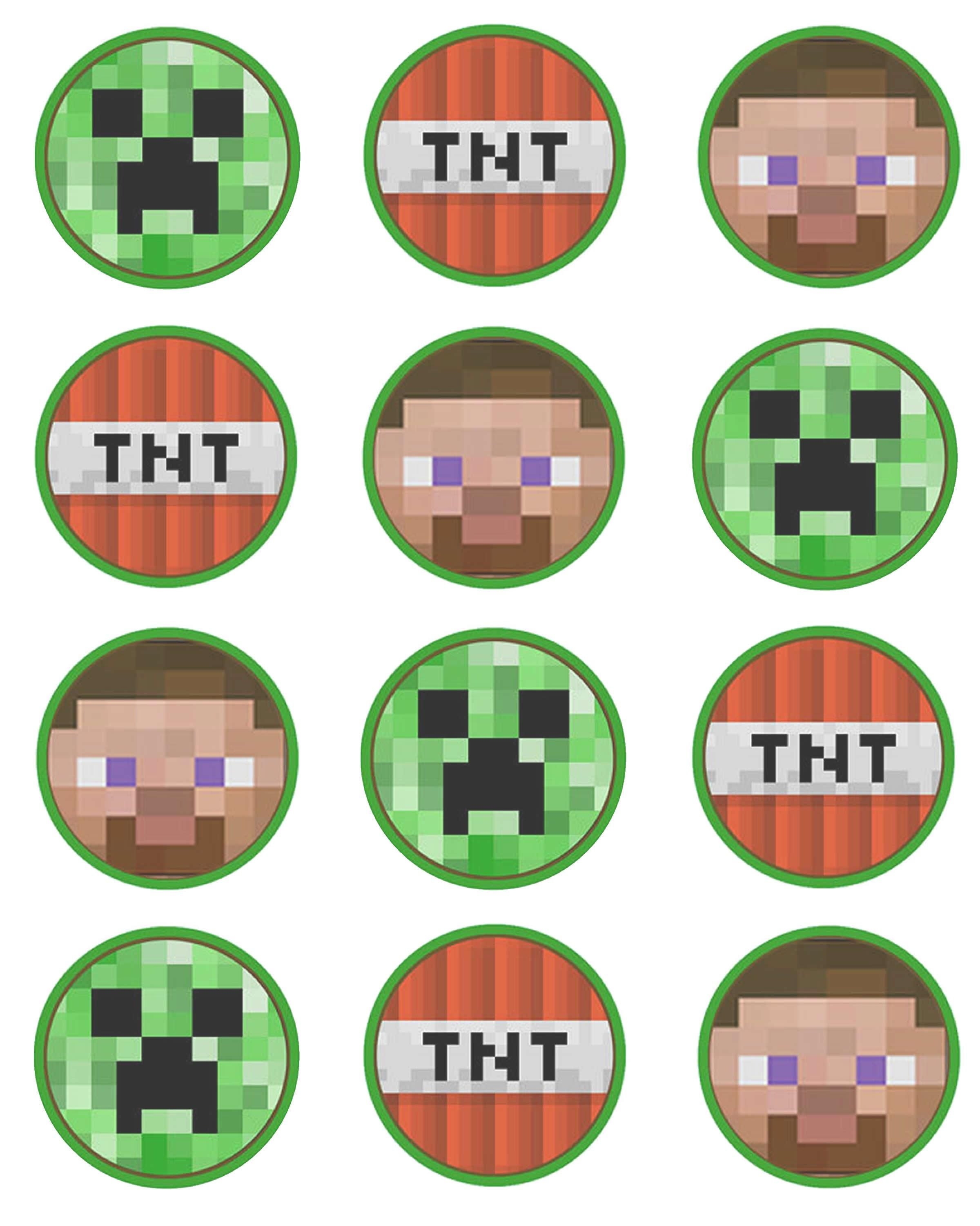 It is a graphic of Comprehensive Printable Minecraft Cupcake Toppers