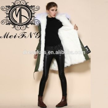crazy discount ladies real fur winter long parka with sleeve