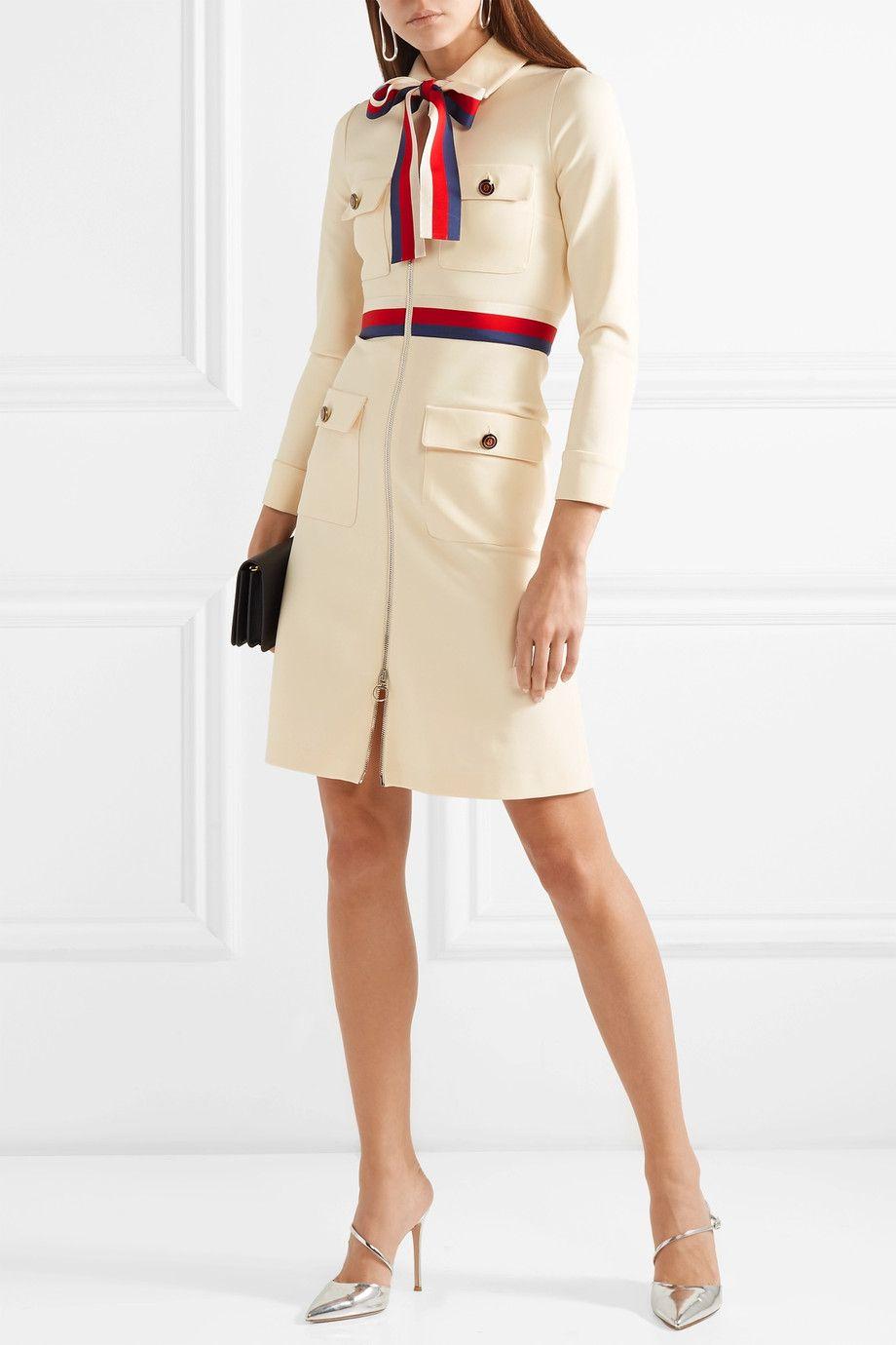 Gucci   Grosgrain-trimmed jersey mini dress   Fashion Lust   Dresses ... 4803b5ec98ea