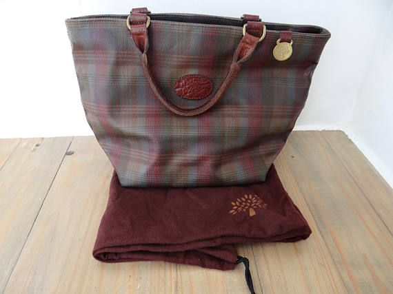 33a53420aadd Vintage Mulberry Bag Leather Tartan Scotchgrain Tote Bag Grab ...