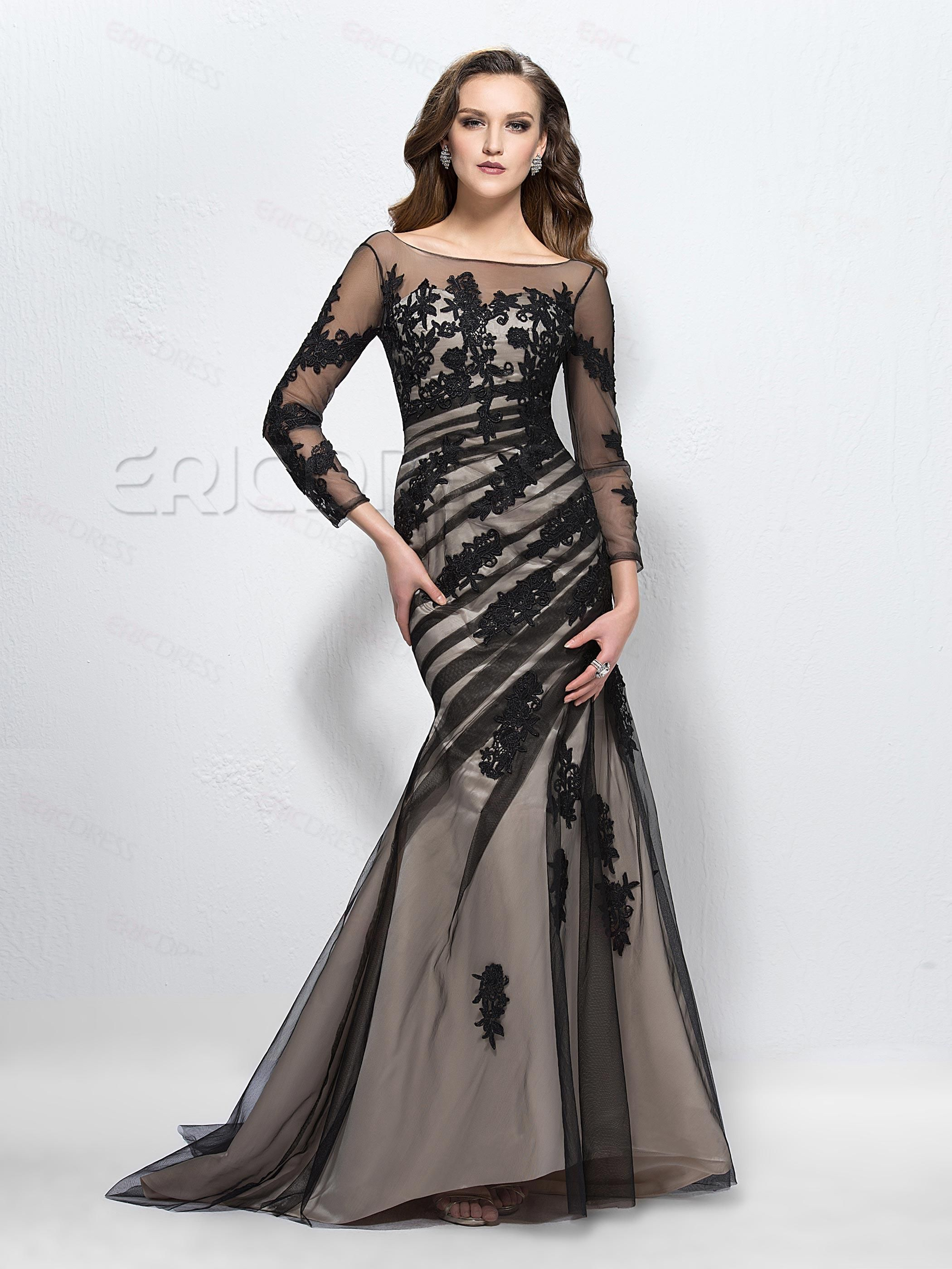 Luxurious trumpetmermaid scoop long sleeves prom dress vintage