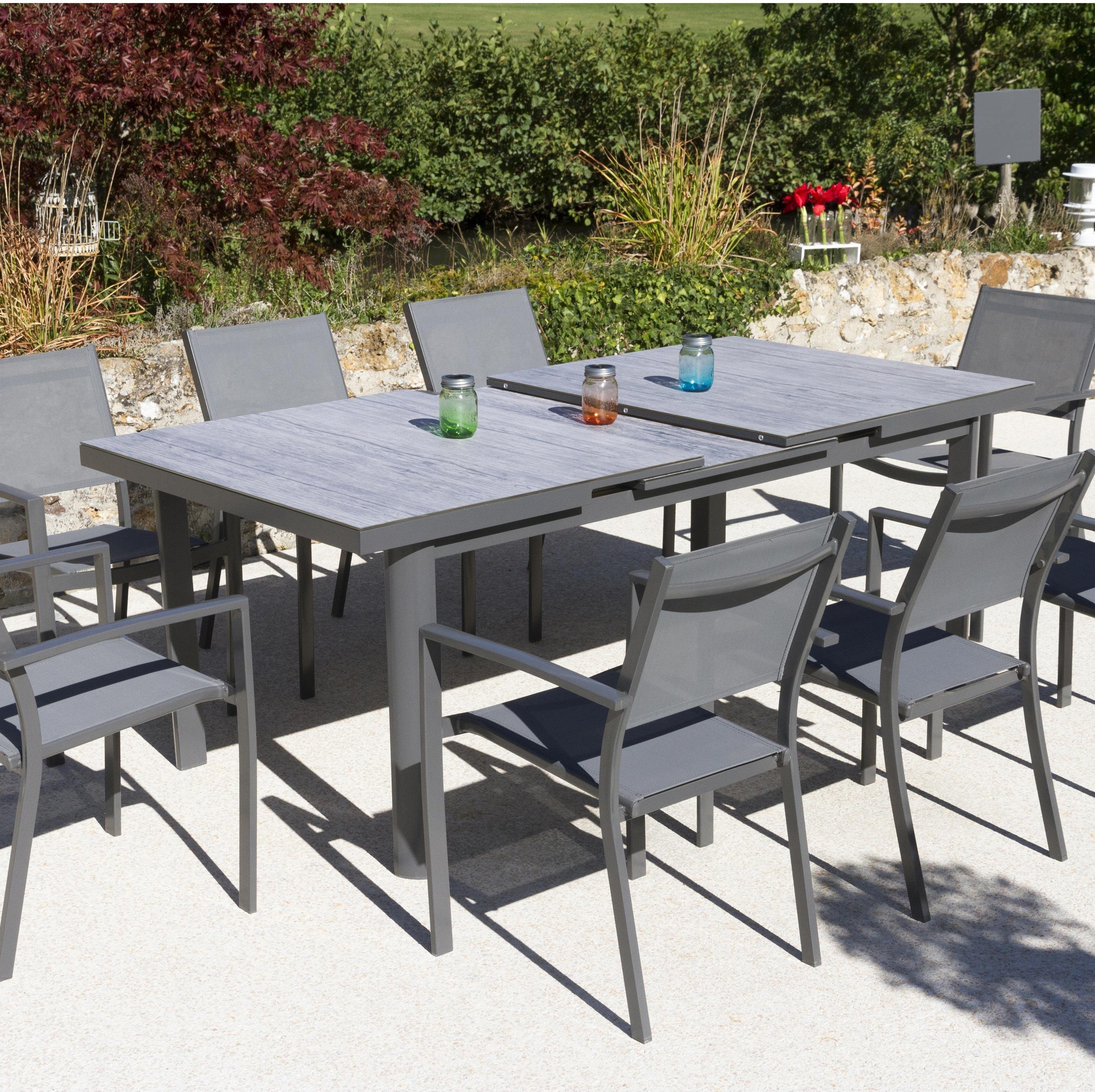 Table Aluminium Et Verre Allonge Auto Lo 180 240 X La 100 Cm Terria Menthe Leroy Merlin