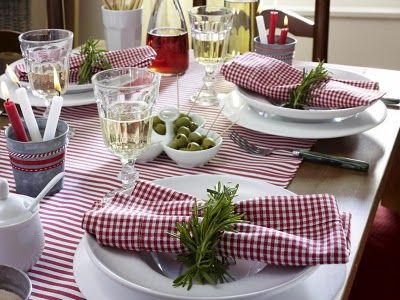 Gingham And Stripes Italian Table Setting