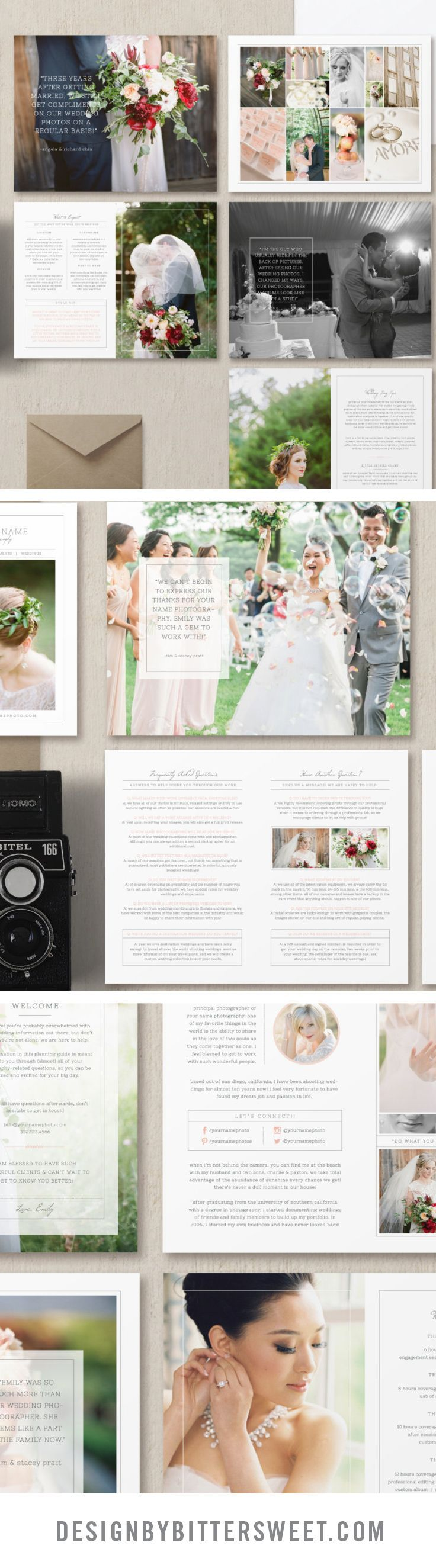 Create a unique magazine to attract your ideal clients and stand out above the crowd with this wedding welcome packet. Professionally written text along with customizable sections give you a versatile package to deliver to your clients as a digital guide or as a beautifully printed 8.5x11 magazine to show off your work. Beautiful images by @abbiemcfarland