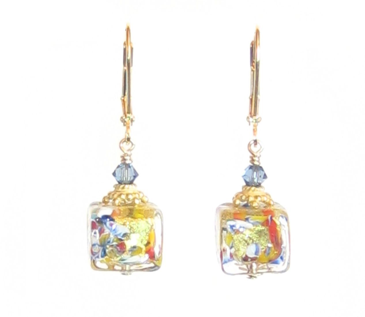 Murano Glass Colorful Cube Gold Earrings