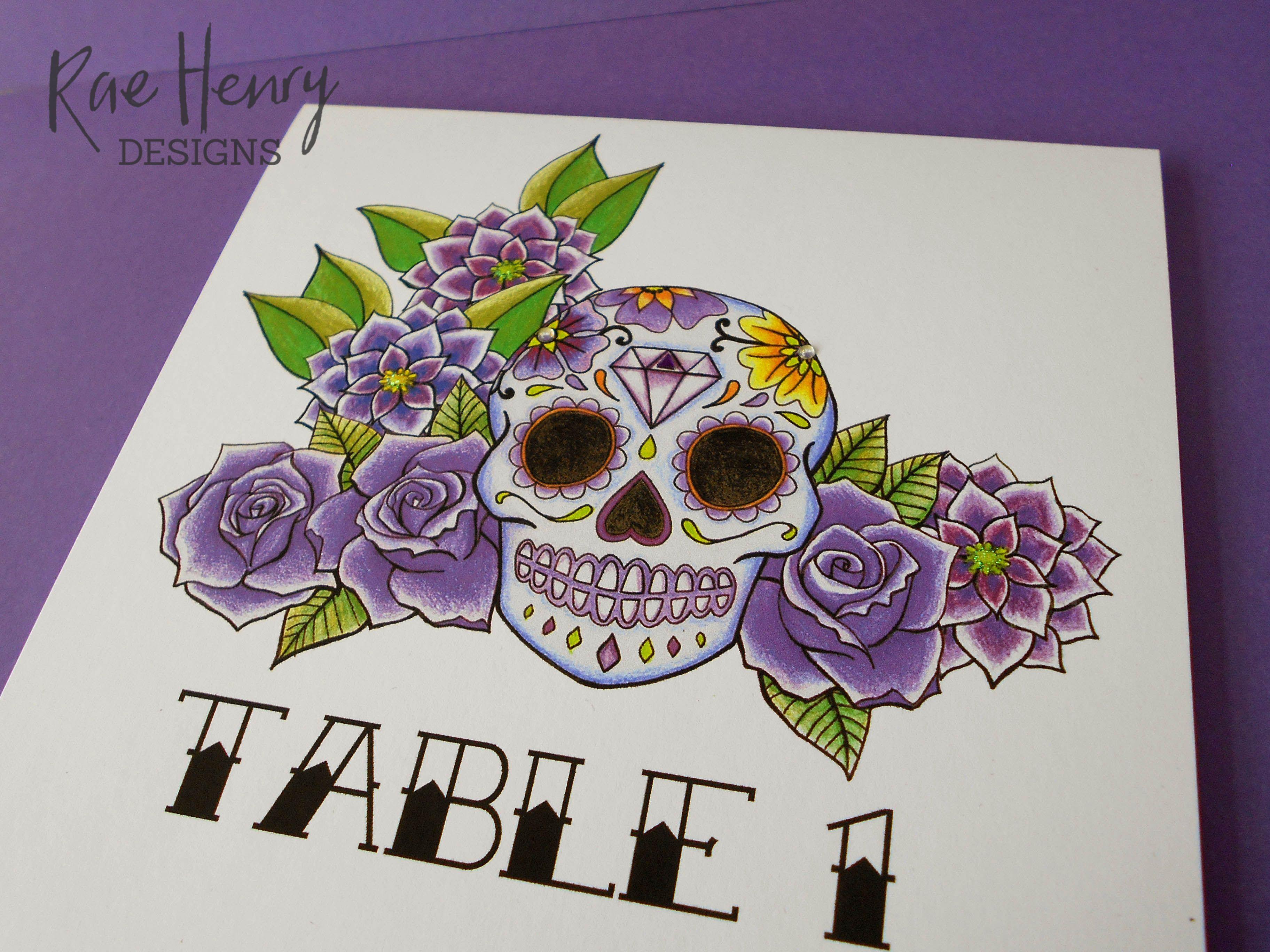 Purple Sugar Skull Wedding Invitations by Rae Henry Designs