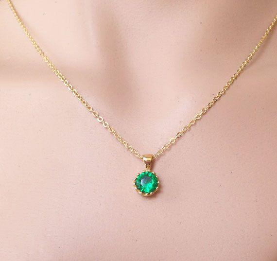 14k Yellow Gold Emerald May Birthstone Heart Charm