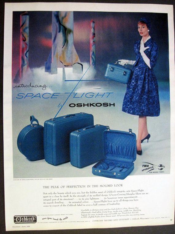 Vintage Space Age OshKosh Luggage Blue by VintageAllianceAds ...