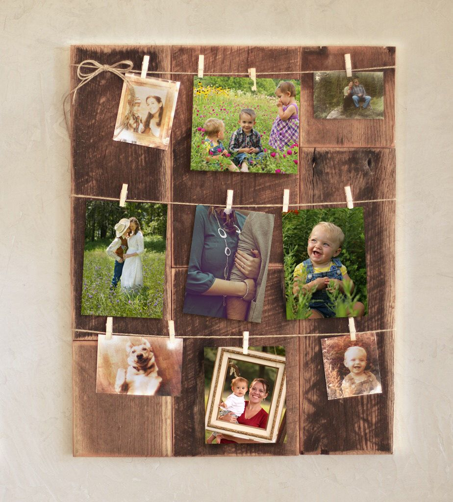 Clothespin Picture Frame Reclaimed Wood Photo Holder