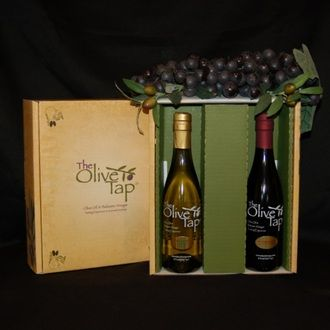 Build your own custom gift box of any two Olive Tap 375 ml. bottles of Olive Oil(s), Balsamic Vinegar(s) or Specialty Oils and Vinegars. The Olive Tap Gift Box is a custom design with an antique, parchment-like background, our logo and accenting olive branches. The inside of the gift box makes an impactful presentation with a rich, green color. Build your gift based on your favorites or what you feel gift recipients will enjoy. Either way, we know your recipients will love the flavors!