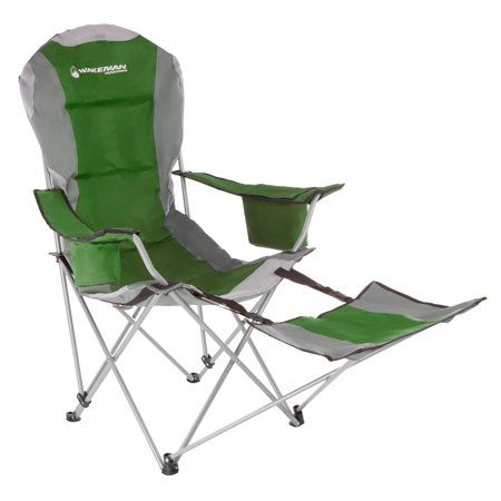Camp Chair With Footrest 300lb Capacity Recliner Quad Seat Cup