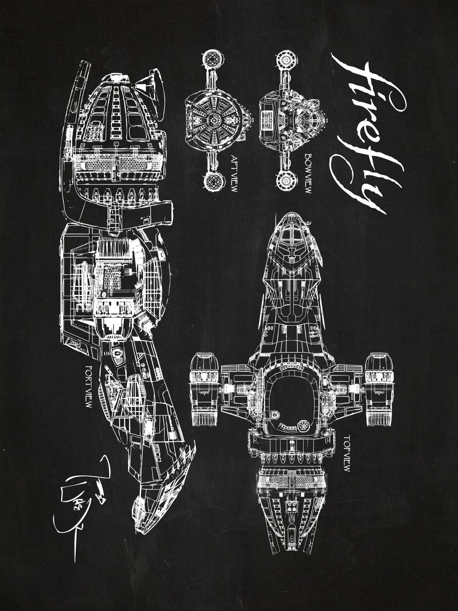 Firefly serenity blueprint graphic art poster in chalkboardwhite firefly serenity blueprint graphic art poster in chalkboardwhite ink malvernweather Gallery