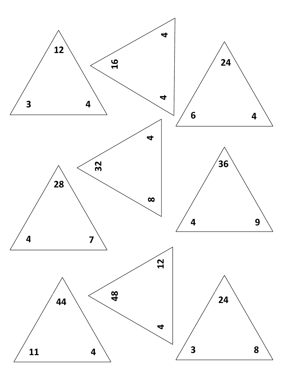 Fact Triangle Worksheets Easy In