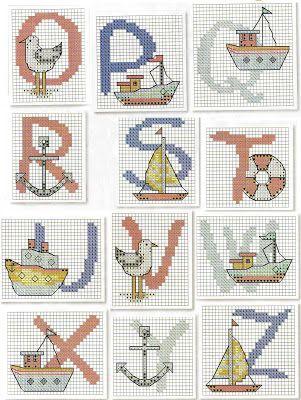 Gráficos de Ponto Cruz: Alfabeto nautico em ponto cruz