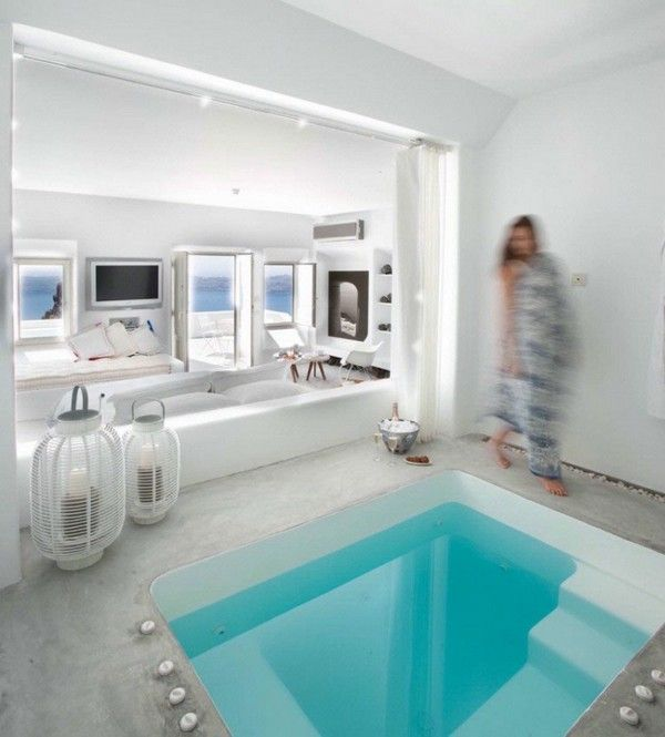 Greek Design Living Room With Pool Inside Quotes Pinterest - Rooms with pools