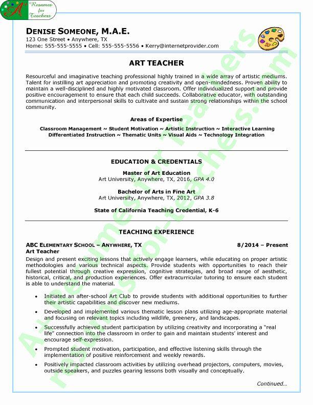 Art Teacher Resume Examples New Art Teacher Resume Sample