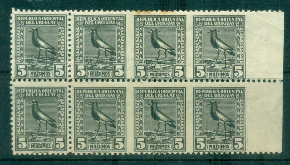 Uruguay 1923on Pictorials, Birds, Southern Lapwing IMPERF Between 5m (tone spots top perfs) blk 8 MLH