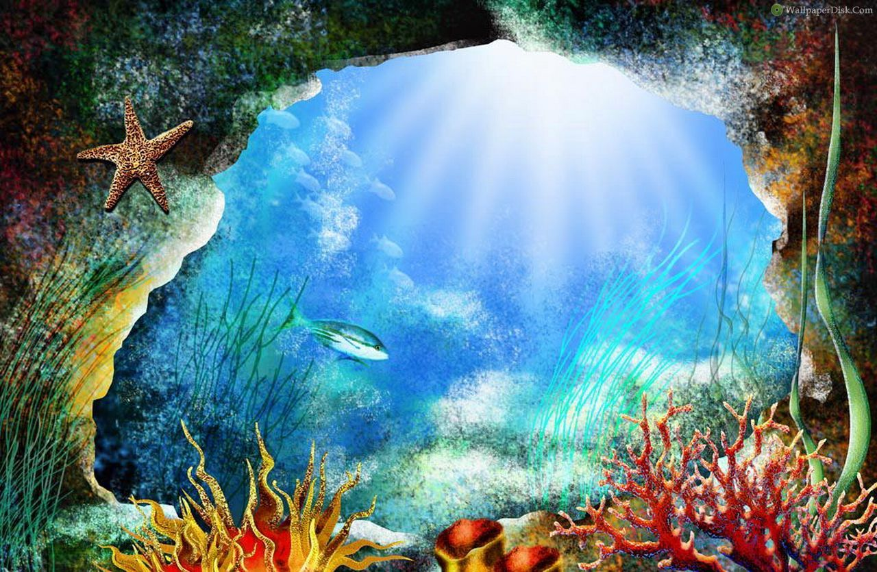 Best underwater painting desktop wallpapers background for Wall scenes