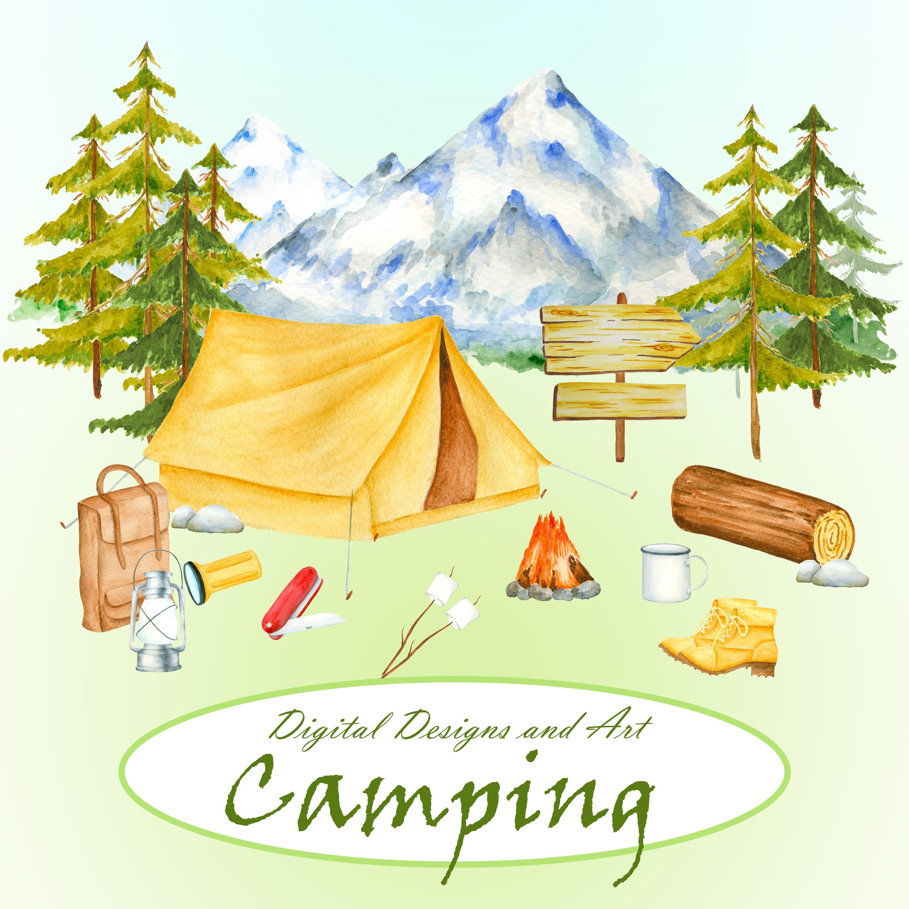 Watercolor Camping Item Clipart Forest And Mountains Nature Forestbonfire Tent