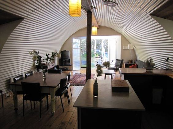 The dining room manages to have home ideas in quonset hut homes also rh pinterest