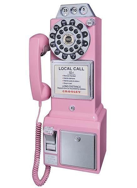 CR56-PI Crosley 1950's Classic Pay Phone - Pink Telephone