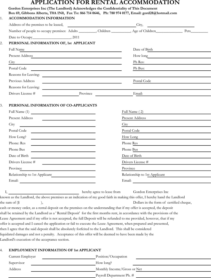 Free Rental Application Form  Rental Forms