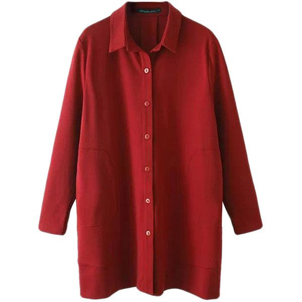 Red Trendy Womens Long Sleeve Plain Pocket Long Blouse (£24) ❤ liked on Polyvore featuring tops, blouses, shirts, long sleeves, red long sleeve shirt, extra long sleeve shirts, long shirt, long tops and long-sleeve shirt