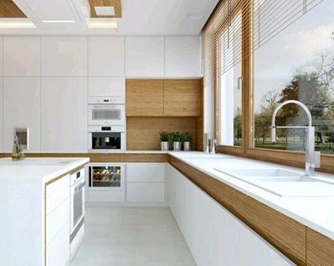Creativo diseño de #cocina con gavetas y puertas separadas del tope ...